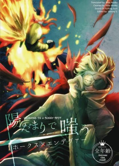 Laughing in a sunny spot doujinshi cover, my hero academia, boku no hero academia, endeavor/hawks